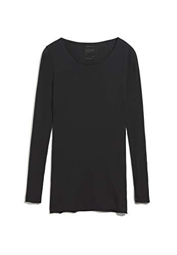 ARMEDANGELS EVVAA Customized - Damen Longsleeve aus Bio-Baumwolle M Black Shirts Longsleeve Rundhals Fitted