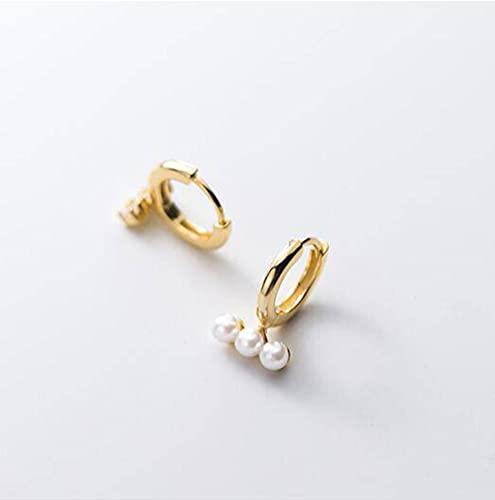 Good dress S925 Hebilla de Hongo Blanco, Pendientes de Perlas Sintéticas con Cuentas de Concha de Palabra de Moda para Mujerdorado, Plata 925