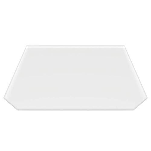 Milchglas Sechseck 120x130cm Glasbodenplatte Funkenschutzplatte Kaminplatte Glas Ofen Platte Bodenplatte Kaminofenplatte Unterlage (Milchglas Sechseck 120x130cm mit Dichtung)