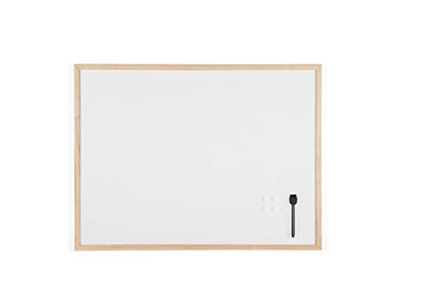 Bi-Office Budget - Pizarra blanca magnética con marco de madera de pino, 80 x 60 cm