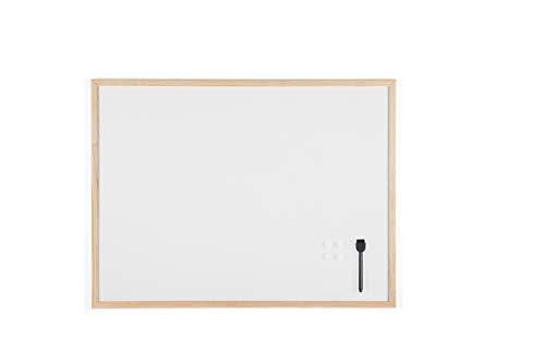 Bi-Office Budget - Tableau Blanc Magnétique, 80 x 60 cm, avec 1 Marqueur et 2 Aimants, Tableau à Mémo avec Cadre en Bois et Surface en Acier Laqué