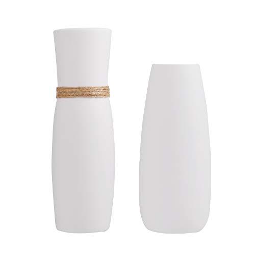 FanChose 2 Pack Keramikvase, Minimalistische Vintage Weiße Keramik Blumenvase mit Unterschiedlichen Einzigartigen Seil Blumenarrangements Moderne Vase Geschenkbox Verpackt