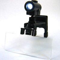 虫眼鏡 LEDライト付き 双眼メガネルーペ クリップタイプ レンズ3種セット
