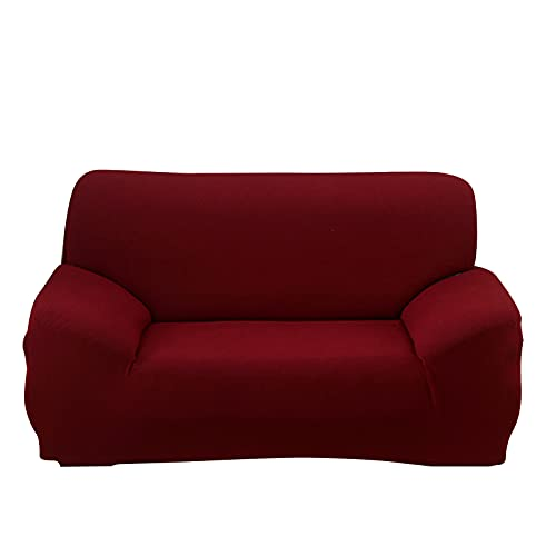 DZYP Funda Elástica para Sofá Moderno Jacquard Lavable Antideslizante Ajustables Cubre Sofa Sillón Protector Cubierta de Muebles (Borgoña,3 plazas)