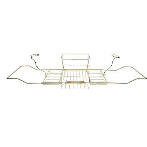 LAANCOO Bandeja Caddie bañera Cuarto de baño de Lectura de Acero Rack Ampliable Plataforma para la Ducha del baño del cojín del Libro de teléfono Holder Oro