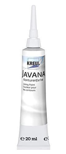 Kreul 815720 - Javana Seidenmalerei Konturenfarbe für Stoffe, 20 ml Tube mit Feinspritzdüse, weiß