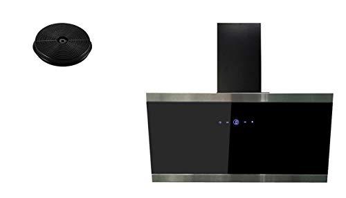 respekta Umluftset_CH88090SA+MIZ1000 Dunstabzugshaube Schräghaube kopffrei schwarz 90 cm + Aktivkohlefilter