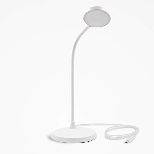 Lampara LED de Lectura Sobremesa LED Tactil Flexible 4W Negro con Enchufe USB y Adaptador de Alimentación SMD2835 LED Luz Fria 5000K de Enuotek