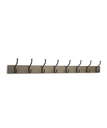 Amazon Basics - Perchero de madera de pared, 8 ganchos estándar 92 cm, Madera noble, 2 unidades