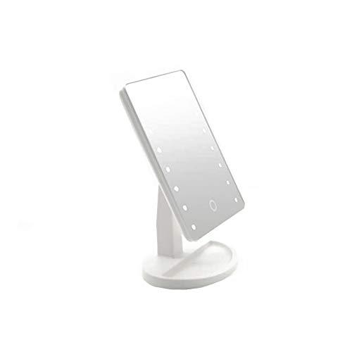 MINGZE Espejo Iluminado de Maquillaje, Interruptor de Pantalla táctil, rotación de 180 Grados, Comodidad portátil y Espejo cosmético de Alta definición (Blanco)