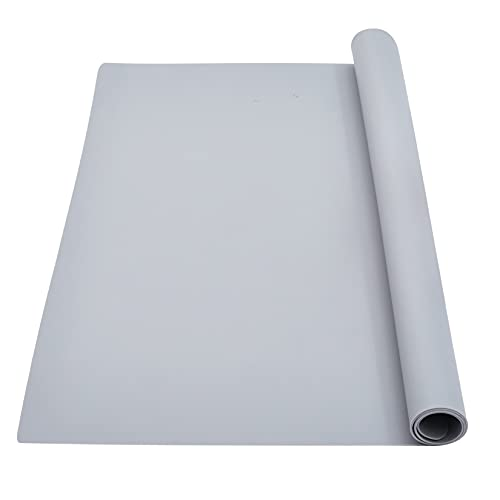 wellhouse Extra Large Silicone Baking Mat Pastry Mat Countertop Protector Clay Mat No-slip Non Stick Waterproof Heat Resistant Silicone Placemats Table Mat 23.6 by 15.7 inch(Gray)