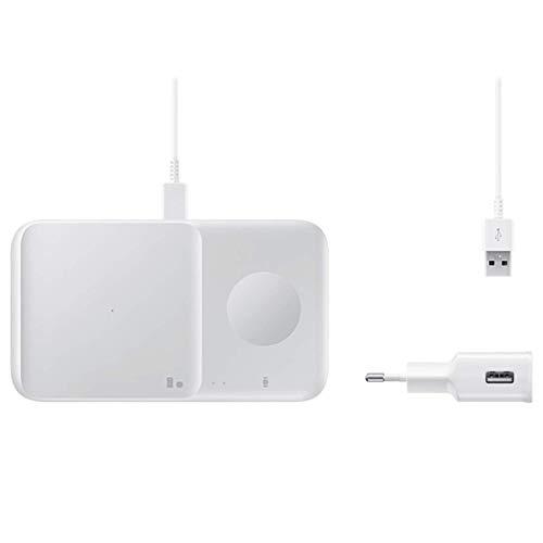 SAMSUNG EP-P4300TWEGEU - Cargador Wireless Duo con Cable, Color Blanco