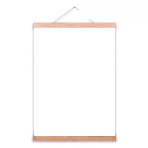 Pergaminos para colgar en madera, clip para colgar con núcleo magnético, colgador de marco sólido para foto de póster, estilo nórdico simple, color de madera, 70 cm