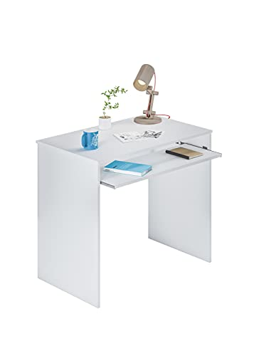 Habitdesign 002314A Mesa de Ordenador con Bandeja extraíble, Blanco Artik, 90 x 54 x 79 cm