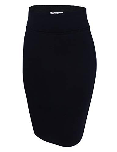 TAM WARE Womens Casual Convertible Knee Length Pencil Skirt TWCWS02-BLACK-US L