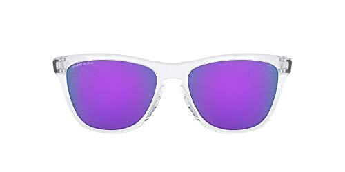Oakley Frogskins, Occhiali da Sole Unisex-Adulto, Lucido/Trasparente/Viola Prizm, 55 Mm