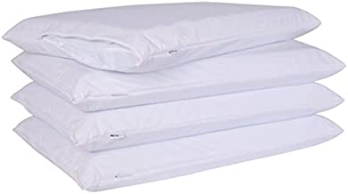 4 Pack Down/Feather Proof Pillow Protectors with Zipper Standard Size Set of 4 Waterproof Bed Pillow Covers