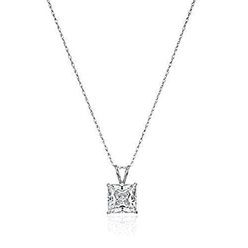 Jewelili 10K White Gold 7MM Princess Cut Swarovski Zirconia Solitaire Pendant Necklace,...