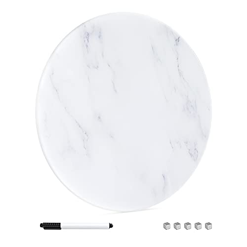 Navaris Pizarra magnética de cristal - Panel imantado de vidrio redondo Ø 50 CM - Tablón de pared con imanes - Panel con motivo de mármol en blanco