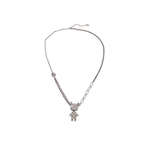 N/A Collar de oso de acero inoxidable collar de clavícula cadena simple larga suéter salvaje cadena pequeño collar femenino hip hop aniversario cumpleaños para mamá ella para esposa
