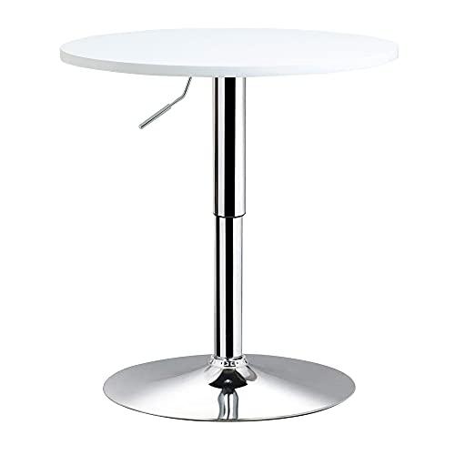 HOMCOM Mesa de Bar Regulable en Altura con Base Redonda y Antideslizante para Cocina Comedor Ø60x69-93 cm Blanco