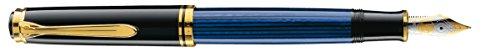 Pelikan 986638 Kolbenfüllhalter Souverän M 800 mit Bicolor-Goldfeder 18-K/750 Federbreite M, 1 Stück, schwarz/blau