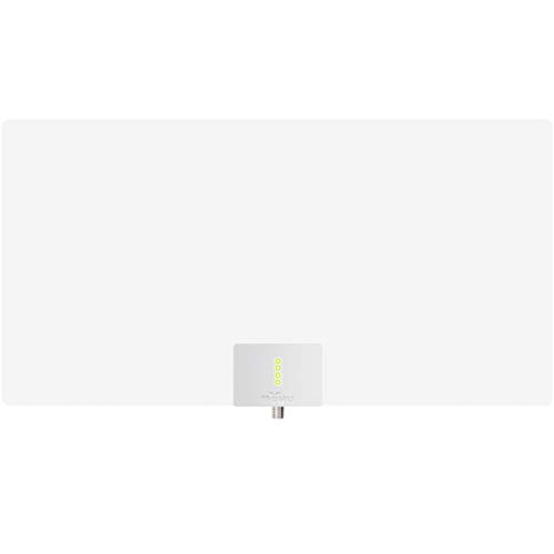 Mohu Leaf Supreme Pro Amplified Indoor TV Antenna, 65-Mile Range, Signal Indicator, UHF/VHF Multi-Directional, Paper-Thin, 16 ft. Detachable Coaxial Cable, Reversible, 4K-Ready HDTV, MH-110160