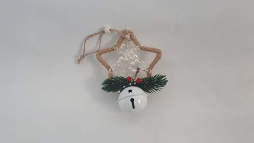 DUE ESSE CHRISTMAS SRL 4 Appendini Decorazioni in Cordino Spago per Albero di Natale con Perle Bianche e 1 Sonaglino Bianco Che Suona (4 Forme Diverse: Cuore, Stella, Albero e Cerchio)