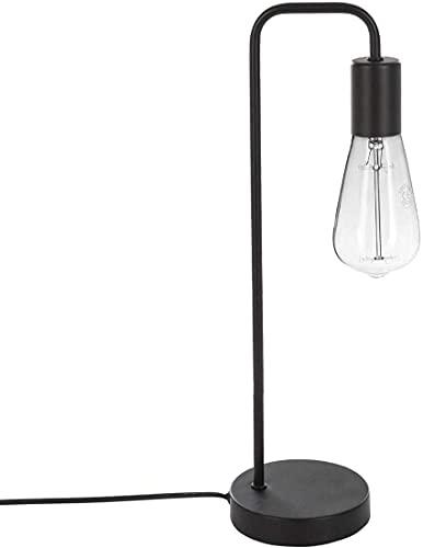TIENDA EURASIA® Lamparas de Mesita de Noche - Lampara de Escritorio Diseño Original y Moderno - Estructura Metalica - 16 x 13 x 46 cm (Negro)