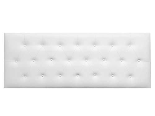 Cabecero de Cama CAPITONE tapizado en Polipiel y con Botones. Altura 55cm. Color Blanco. para Cama de 210 (Medidas 220x55x8) Pro Elite.