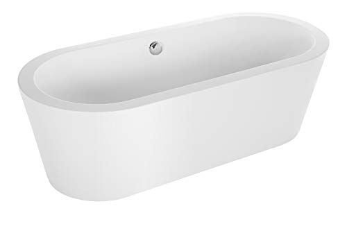 "Empava 59"" Made in USA Stand Alone Acrylic Soaking SPA Tub Modern Freestanding Bathtubs with Custom Contemporary Design EMPV-59FT1505"