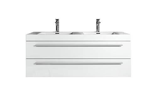 Badezimmer Badmöbel Set Rome 120cm Hochglanz Weiß - Unterschrank Schrank Waschbecken Waschtisch