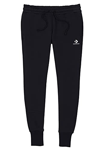 Converse Jogger Damen Embroidered Fleece Pant 10020873 Black 001 Schwarz, Größe:M