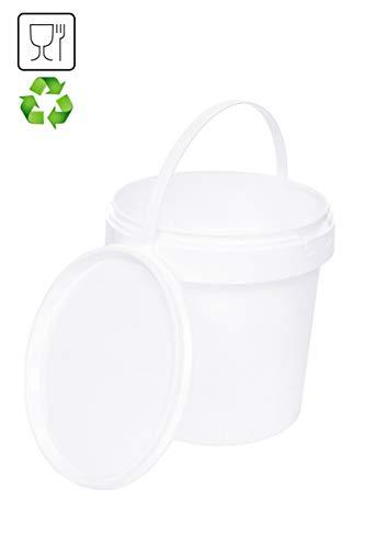 Eimer mit Deckel | Weiß 100x 1L | Kunststoffeimer Deckel Henkel Lebensmittelecht Hochwertiger (100x 1 Liter)