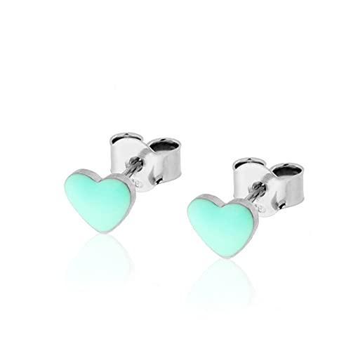 Pendientes de corazón de plata 925 con esmalte de color.