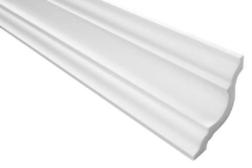 Zierleisten Sparpaket E-25 | leicht und stabil | extrudiertes Styropor | Stuckprofile | Decken-/ und Wandübergang | modern weiß | dekorativ | XPS | 65 x 65 mm | 30 Meter