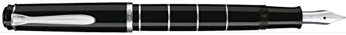 Pelikan 948463 Kolbenfüllhalter Classic M215 Ringe, Edelstahlfeder, B, schwarz/silber