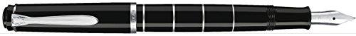 Pelikan 948455 Kolbenfüllhalter Classic M215 Ringe, Edelstahlfeder, M, schwarz/silber