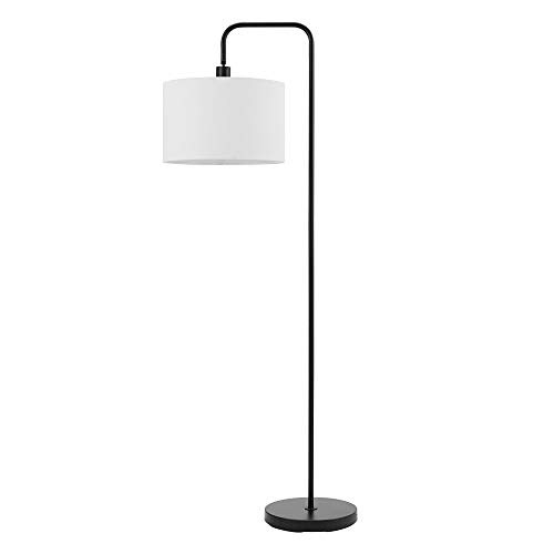 Globe Electric 67065 Barden Floor Lamp, With Shade, Matte Black with White