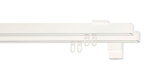 indeko COLMAR, eckige Gardinenschiene mit Innenlauf aus Aluminium auf Maß, 2-Lauf, weiß, Komplettset mit Zubehör