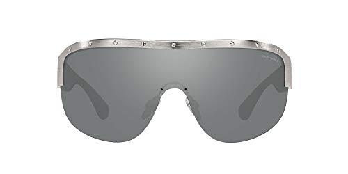 Ralph Lauren Gafas de sol de aviador Rl7070 para mujer, Plata brillante/Gris espejo,
