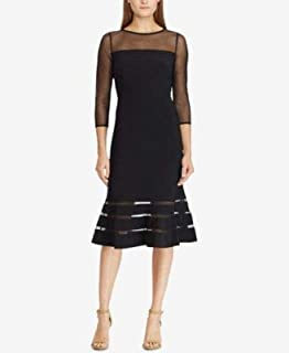 RALPH LAUREN Womens Black Illusion Jersey 3/4 Sleeve Illusion Neckline Below The Knee Cocktail Dress US Size: 4