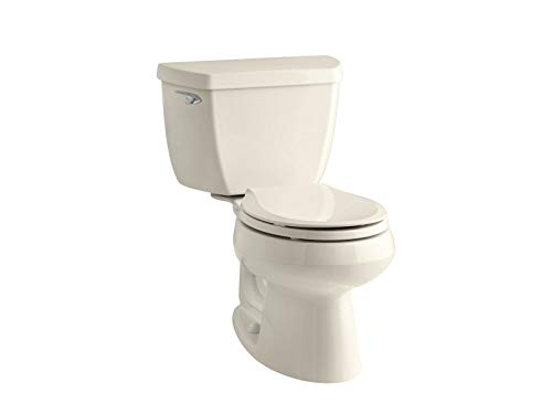 Kohler K-3577-47 Wellworth Classic 1.28 gpf Round-Front Toilet with Class Five Flushing Technology and Left-Hand Trip Lever, Almond