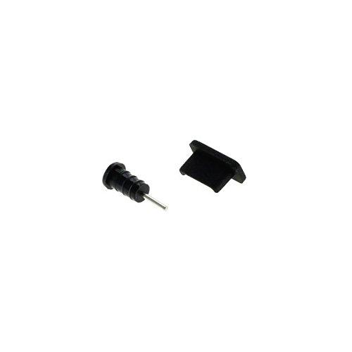 Handy-Punkt Staubschutz-Kappen Set für USB Type C (USB-C) & Kopfhörer-Anschluss schwarz