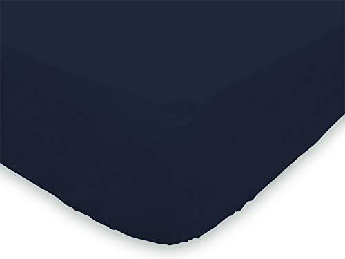 Soleil d'ocre Lenzuolo con Angoli 90 x 190 cm in Cotone Tinta Unita Blu Marino
