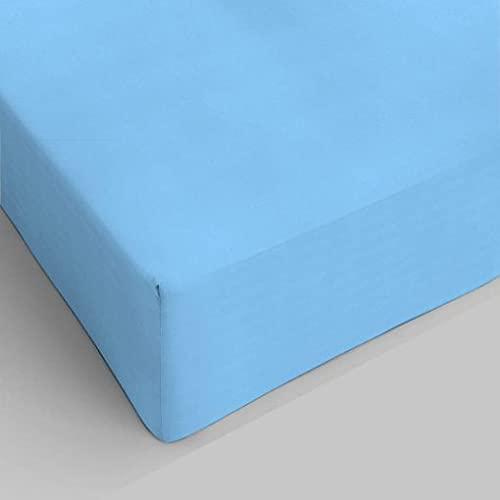 lenzuolo con angoli maxi misura 190 x 215 colore azzurro