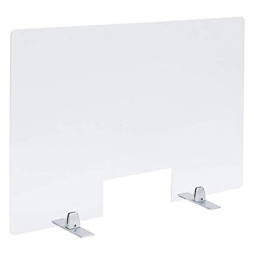 PLEXIDIRECT - Spuckschutz Plexiglas Schutzwand Thekenaufsatz mit Durchreiche Niesschutz Hustenschutz, 3mm Schirm, MOXI Tischfuß Silber Aluminium, 750 x 650 mm (BxH)