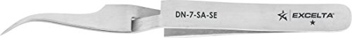 Excelta - DN-7-SA-SE - Tweezers - Fine Point - Reverse Action - Curved - One Star - Anti-Mag. SS, 0.5' Height, 0.375' Wide, 4.5' Length
