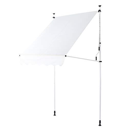 Toldo con Abrazadera Toldo para balcón Altura Ajustable Resistente a los Rayos UV con manivela para Puerta Exterior Ventana Techo de protección Solar Impermeable, 3x1.2m(Beige)