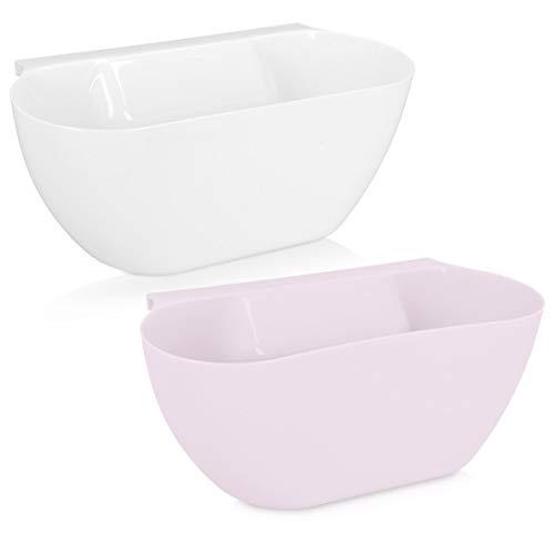Navaris 2X Bandeja para desechos de Cocina - Set de Dos contenedores Colgantes para Recoger la Basura - Recipiente en Rosa y Blanco